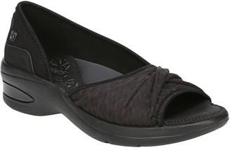 BZees Fabric Accented Peep-Toe Slip-On Loafers- Remix