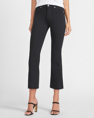 Express Mid Rise Black Raw Hem Cropped Flare Jeans