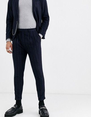 Twisted Tailor super skinny cropped suit pants in navy stripe
