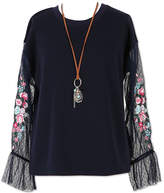 Speechless Sheer Long Sleeve Top with Necklace - Girls' 7-16