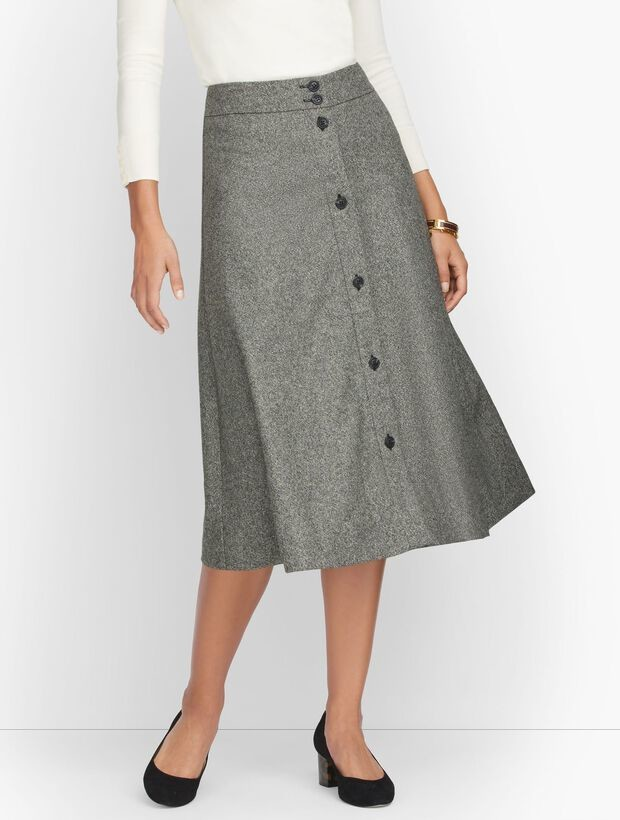 Talbots Donegal Button Front Full Skirt