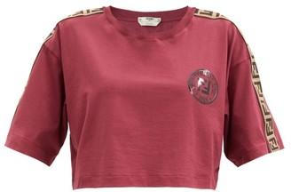Fendi Logo-stripe Cotton-jersey Cropped Top - Burgundy