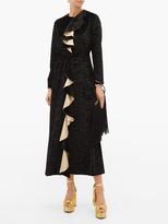 Thumbnail for your product : Loretta Caponi Betty Ruffled Devore-velvet Midi Dress - Black Gold