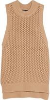 Tibi Open-knit cotton-blend top