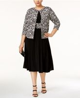 Jessica Howard Plus Size Fit & Flare Dress & Printed Jacket