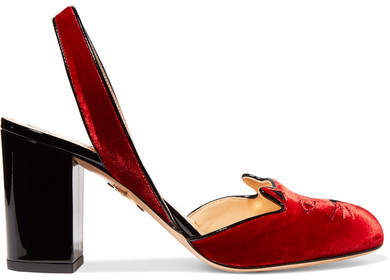Charlotte Olympia Kitty Embroidered Patent Leather-trimmed Velvet Pumps