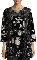 Caroline Rose 3/4-Sleeve Panne Velvet Tunic W/ Shimmer, Black, Plus Size