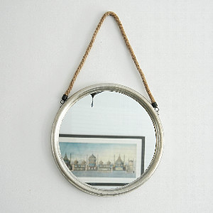 Inle Home - Large Round Silver Mirror With Hanging Rope