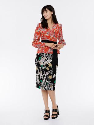 Diane von Furstenberg Hesy Silk Crepe de Chine Wrap Top