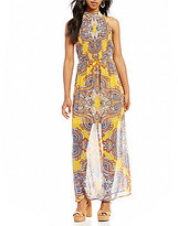 As U Wish Halter Neckline Printed Maxi Dress