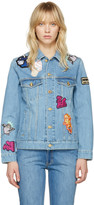 Kenzo Blue Denim Cartoon Patches Jacket