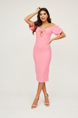 Little Mistress Palmira Bubblegum Pink Bardot Midi Dress