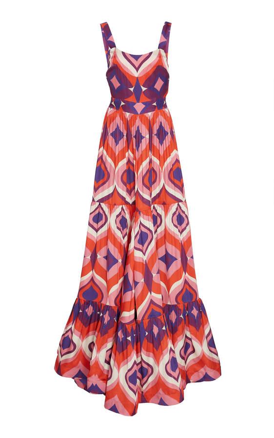 Alexis Jourdan Printed Crepe Maxi Dress Size: L