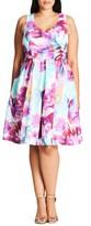City Chic Plus Size Women's Bright Bouquet Print Fit & Flare Dress
