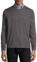 Neiman Marcus Superfine Cashmere Crewneck Sweater, Tan