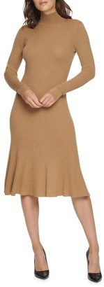 Donna Karan Mockneck Stretch Merino Wool-Blend Dress