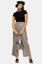 Topshop Womens Petite Brown Mixed Check Slouch Trousers - Brown