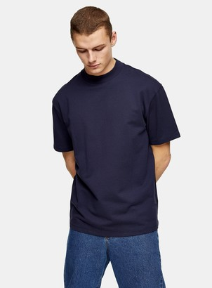 Topman Navy Oversized High Neck T-Shirt