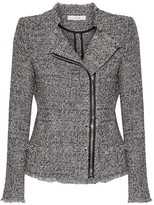 IRO Leather-trimmed Frayed Cotton-blend Tweed Jacket - Black