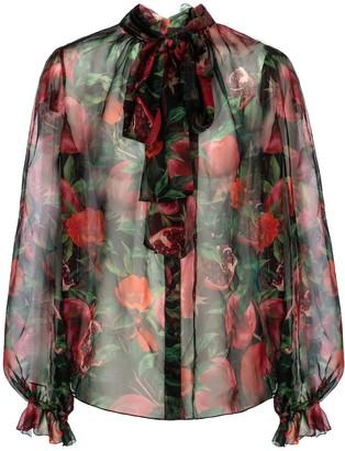 Dolce & Gabbana Exclusive to Mytheresa Pomegranate-print silk chiffon blouse