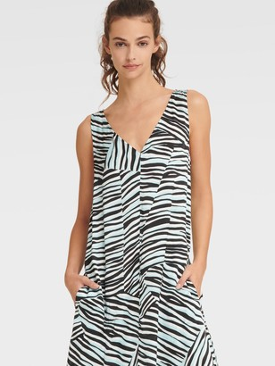 DKNY Women's Printed Maxi Dress With Drawstring Hem - Ivory Caribbean Black Mul - Size XS