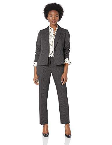 Le Suit Women's Plus Size 1 Button Mini Pinstripe Slim Pant Suit