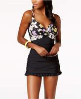 Swim Solutions Villa Thigh-Minimizing Tummy-Control Swimdress, Created for Macy's Women's Swimsuit