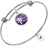 "Unwritten Faith, Hope, Love"" Adjustable Message Bangle Bracelet in Stainless Steel"