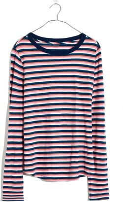 Madewell Jessica Stripe Whisper Cotton Rib Crewneck Long Sleeve T-Shirt
