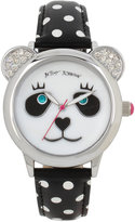 Betsey Johnson Women's Black and White Polka Dot Imitation Leather Strap Watch 38mm BJ00628-01