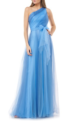 Carmen Marc Valvo Two-Tone One-Shoulder Tulle Gown