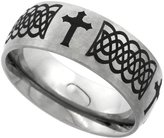 Sabrina Silver Titanium 8mm Wedding Band Celtic Knot Ring Domed with Crosses Brushed Finish Comfort Fit, size 8