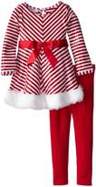Bonnie Jean Toddler Little Girls Holiday Pant Set - Red White Chevron Sequined Tunic Set