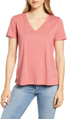 Vince Camuto Studded V-Neck Cotton Blend T-Shirt