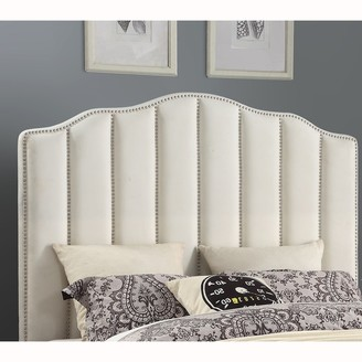 Overstock Cream Upholstered Channeled Queen Headboard with Nailhead Trim