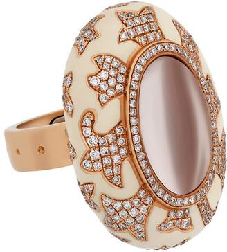 Nouvelle Bague 18K Rose Gold 3.10 Ct. Tw. Diamond Rock Crystal & Enamel Ring