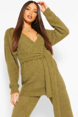boohoo Tall Premium Fluffy Knit Tie Wrap Cardigan