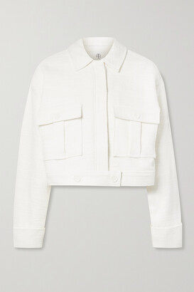 Anine Bing - Adriana Cropped Cotton-tweed Jacket - Ivory
