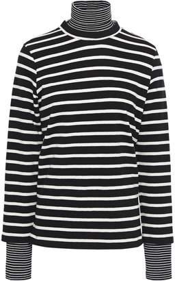 GOEN.J Layered Striped Cotton-jersey Turtleneck Top