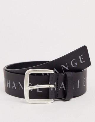 Armani Exchange contrast logo leather belt in black