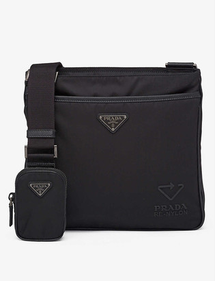 Prada Logo-embossed recycled-nylon and leather shoulder bag