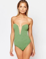 Beach Riot Stone Cold Fox for Textured Deep V Plunge Swimsuit