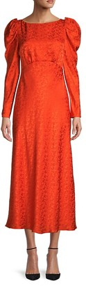 Saloni Alena Silk Princess-Sleeve Dress