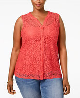 Style&Co. Style & Co. Plus Size Lace Sleeveless Blouse, Only at Macy's
