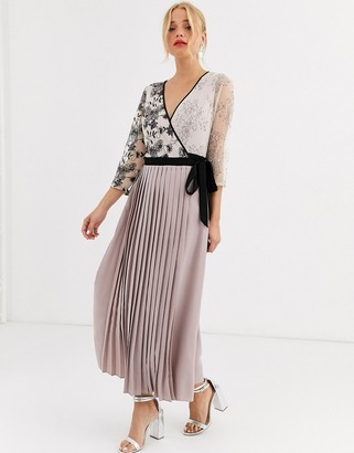 Little Mistress wrap front maxi dress with pleated skirt in mink
