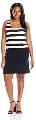 Joan Vass Women's Plus Size Stripe Color Blocked Cotton Dress Black/White 2X