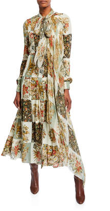 Oscar de la Renta Floral Patchwork Silk Long-Sleeve Day Dress