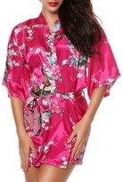 Luxurysmart Women's Peacock Floral Satin Kimono Robe Sleepwear Nightgown