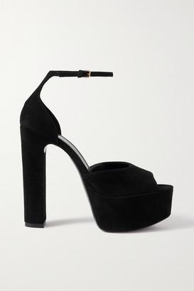 Saint Laurent Jodie Suede Platform Sandals - Black
