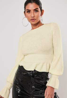 Missguided Cream Frill Hem And Sleeve Jumper